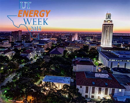 Aerial photo of UT's campus with energy week logo superimposed in upper left.