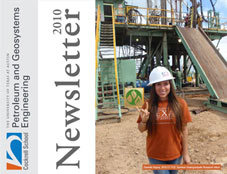 Newsletter cover with UT student posing in front of oil machinery.